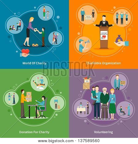 Charity donation volunteering and charitable organizations 2x2 icons set on bright colorful background flat isolated vector illustration