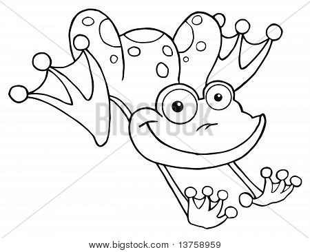 Outline Of A Leaping Orange Happy Frog poster
