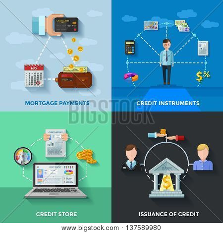 Credit rating 2x2 design concept set of  mortgage payments credit score issuance of credit compositions flat vector illustration