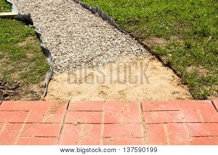 Unfinished Building Path Of Red Concrete Tiles