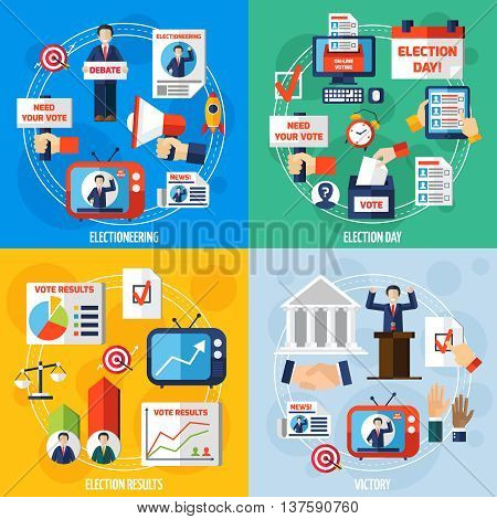 Elections and voting 2x2 design concept set of media discussion vote results and winning candidate flat compositions vector illustration