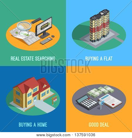 Real estate market search for a goed deal concept 4 isometric icons square abstract isolated vector illustration