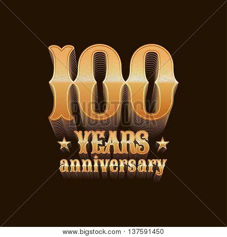 100 years anniversary vector logo icon. 100th birthday decoration design element sign emblem symbol in golden