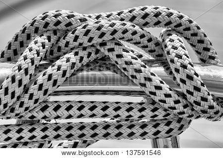 Rope on a boat in black and white