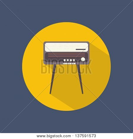 Radiogram round flat icon on dark background. Retro style. Vector illustration.