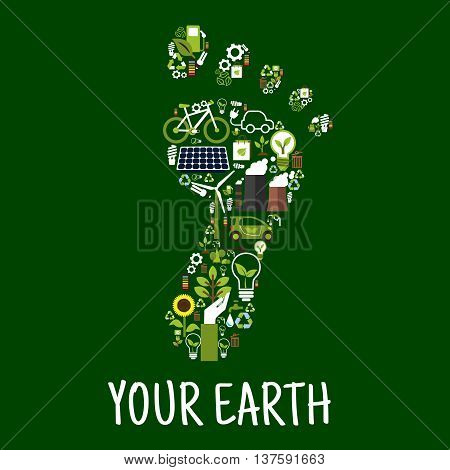 Go green concept symbol of footprint with flat icons of saving energy and recycling signs, light bulbs with leaves, bicycle and electric cars, trees, flowers and plants, solar panel, wind turbine and bio fuel, paper bags and batteries. Environment respons