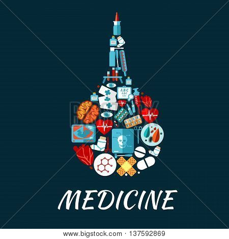 Medical enema icon made up of hearts, eyes and brain, pills, syringe and medicine bottles, laboratory test tubes and medical tools, baby ultrasound, x ray scan and visual acuity chart, chemical molecules and plasters flat symbols