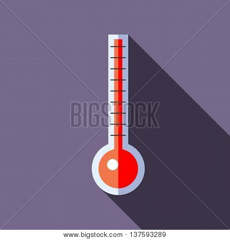 Thermometer indicates extremely high temperature icon in flat style on a lavender background