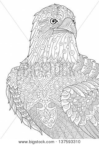 Zentangle stylized cartoon eagle of prairie (hawk falcon osprey). Hand drawn sketch for adult antistress coloring book page T-shirt emblem logo tattoo with doodle zentangle floral design elements.