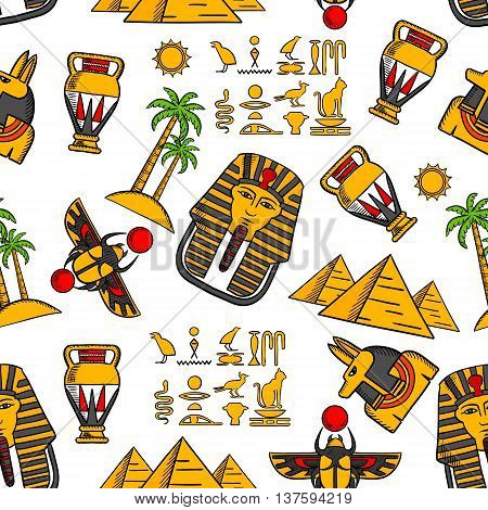 Seamless pattern of ancient egyptian hieroglyphics, pharaoh masks and god of death anubis, desert landscape with pyramids, palms and sun, scarab amulets and amphoras on white background