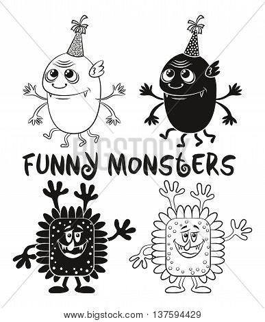 Set of Cute Different Cartoon Monsters, Black Contour and Silhouette Characters in Holiday Caps, Elements for your Design, Prints and Banners, Isolated on White Background. Vector