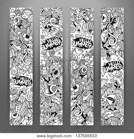 Cartoon line art vector hand drawn doodles summer corporate identity. 4 Verical banners design. Templates set