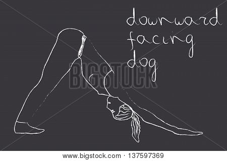 Yoga downward facing dog pose in chalk on blackboard