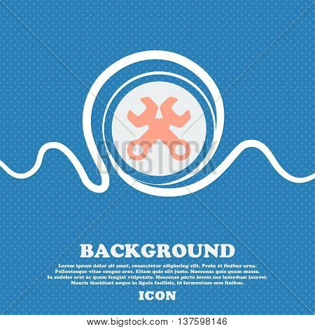 Wrench Key Sign Icon. Service Tool Symbol. Blue And White Abstract Background Flecked With Space For