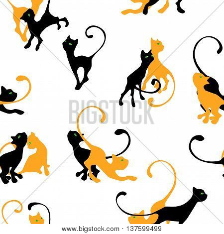 pattern with couple of kitten silhouette on white background