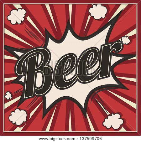 Retro style Beer signboard Background. Boom comic book explosion beautiful vintage sign abstract template with text