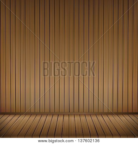 Brown wood floor texture and wood wall background empty room with space vector illustration