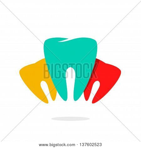 Abstract teeth dental care vector logo, concept of implants, dentist office symbol, prosthetics, teeth recovery medical technology, modern brand design, trend illustration isolated