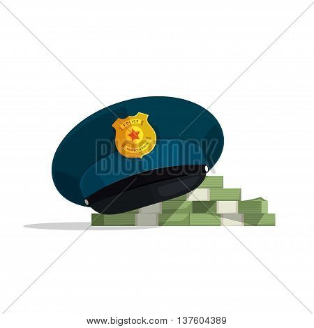 Police officer hat vector illustration, flock pile of cash, cop cap, concept of security service, bribe police, law evidence, solved crime, official corruption flat modern design isolated on white