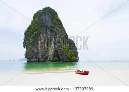 Beauty beach and limestone rocks.  Ao Phra Nang Thailand.