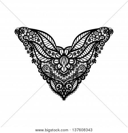 Vector floral neckline design for fashion. Flowers and leaves neck print. Chest lace embellishment. Ethnic indian ornament