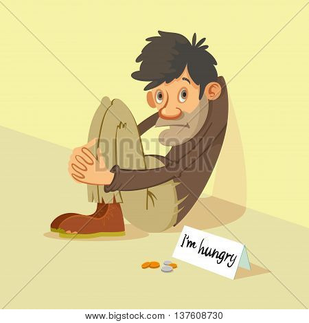 Homeless hungry beggar begs for money vector illustration