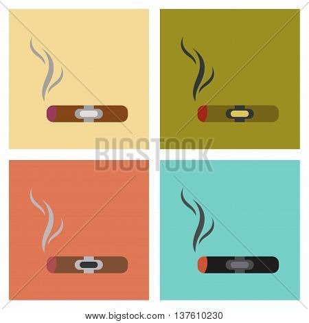 assembly of flat icons expensive cuba cigar poster