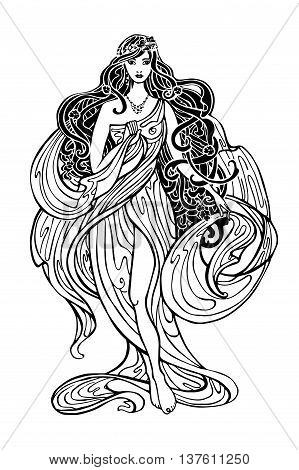 Art Nouveau styled woman with long flowing hair and drapery dress.Vintage art design.Beautiful female, girl.Vector Art Nouveau graphics template.Fashion illustration.Antique drapery dress