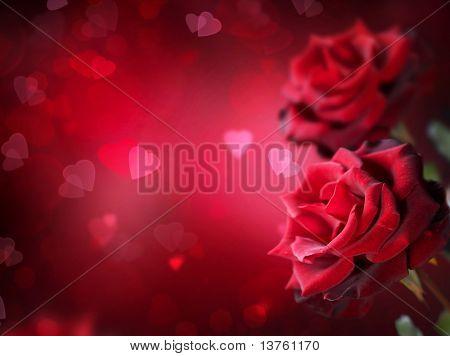 Rosen und Herzen Hintergrund.Valentinstag oder Hochzeit Karte.
