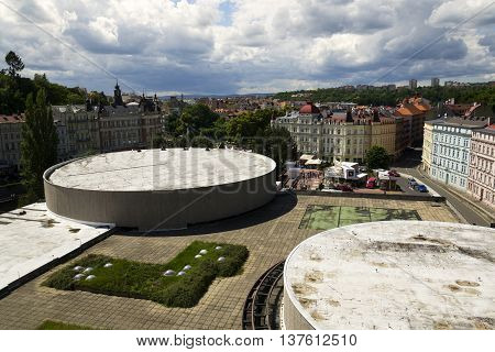 Karlovy Vary, Czech Republic - July 3: People Walk On Streets Of Spa Town Karlovy Vary With Roof Of