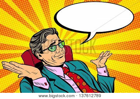 oops sorry business man. Pop art retro vector, realistic hand drawn illustration. businessman throws up his hands