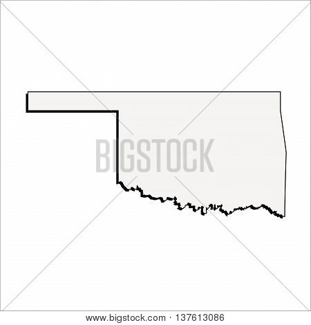 Vector Oklahoma State 3D Outline Map Mercator