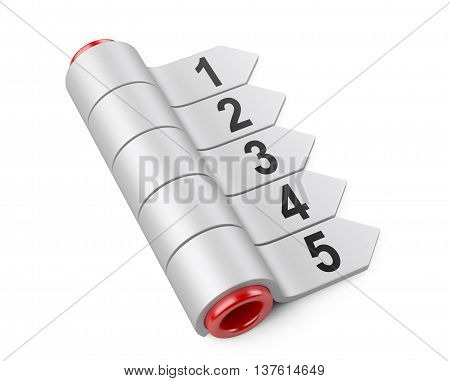 3d arrow stickers chart set with cylinder. Image on a white background.