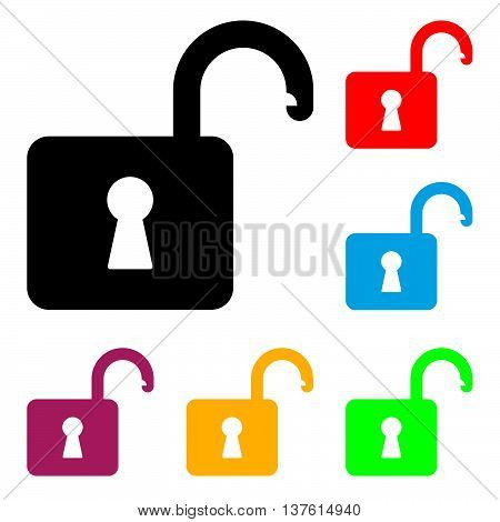 Open Padlock. Vector Illustration Of A Open Padlock Silhouette With It's Color Variations