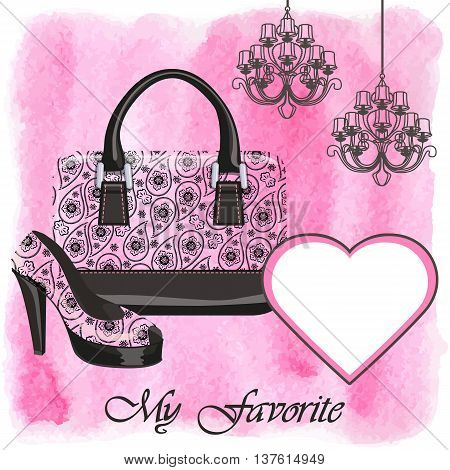 Fashion handbag with high heel shoes.Gorgeous Paisley pattern and watercolor textured splash background with chandelier.Artistic Vector illustration.Composition in pink and black colors.Shopping Poster