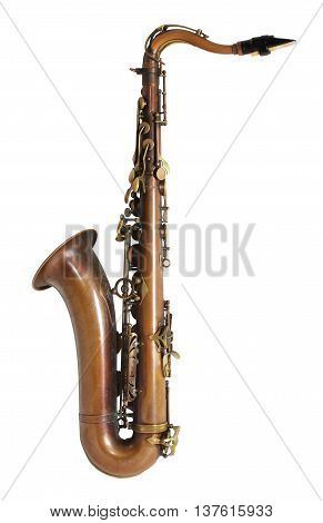Brass Saxophone on an Isolated White Background