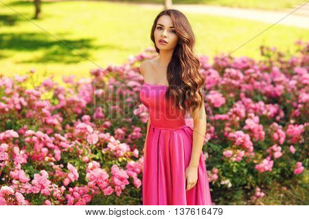 Young beautiful pretty woman posing in long evening luxury dress against bushes with pink roses on a sunny summer day. Vogue style fashion sensual portrait