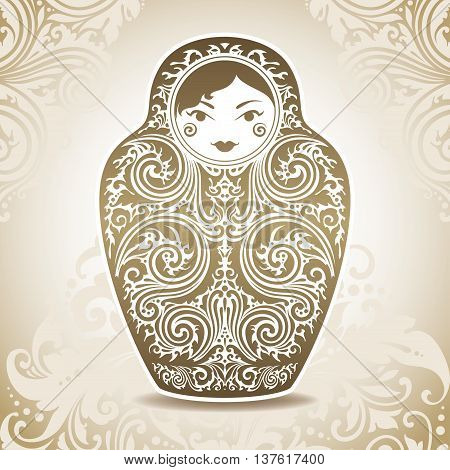 Ornamental doll on patterned background. Vector illustration