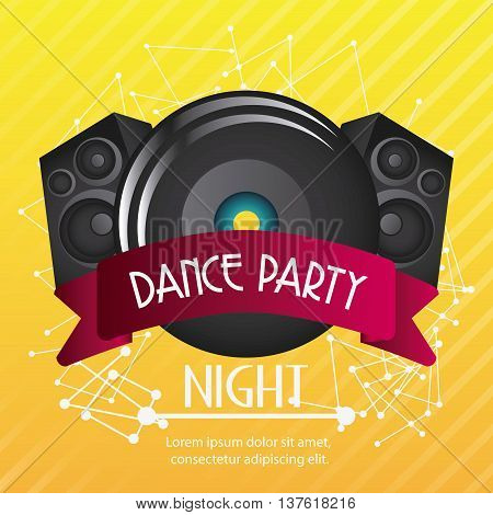 Electro and Dance Party represented by speaker icon over striped background. Colorfull and Flat illustration