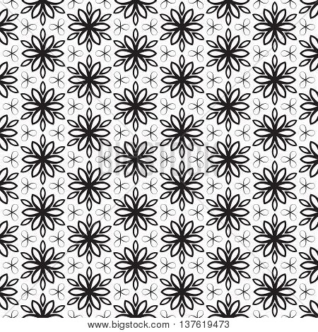Funky Leaf Leaves Floral Flower Petals Trendy Black Line Design Repeating Seamless Vector Pattern Background Design Geometric Stars Celtic Tribal Stylish Decorative Art