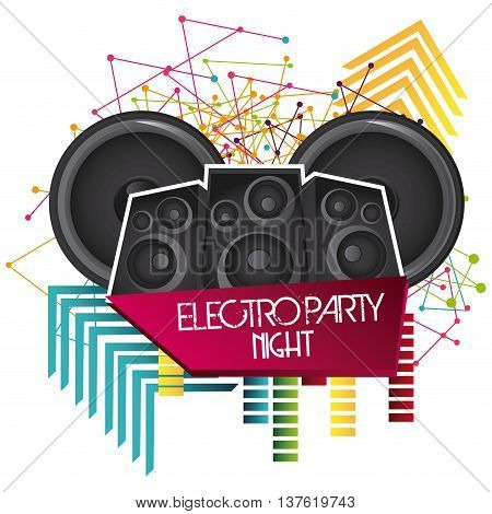 Electro and Dance Party represented by speaker icon with geometry shape design. Colorfull and Flat illustration