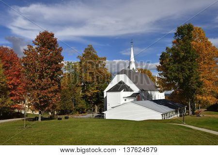 Church and fall trees in New Hampshire