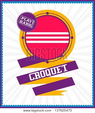 Sports games. Sport ball. Colorful Croquet poster