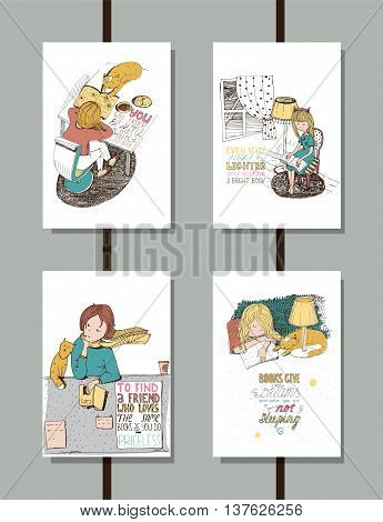 Colorful set of handdrawn educational lettering illustrations with quotes about reading and books lovely girl and cute cat. Vertical isolated on white vector posters good for library and bookstore.