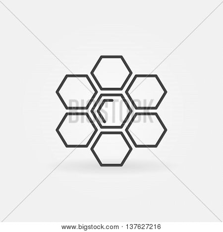 Honeycomb linear icon. Vector minimal honey and honeycomb symbol or logo element in thin line style