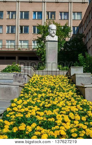 YEKATERINBURG RUSSIA - AUGUST 17 2013. Bust sculpture monument to world famous Russian composer Peter Tchaikovsky near the music school