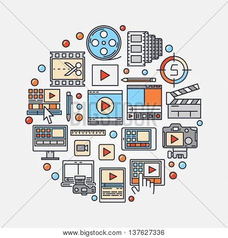 Video production concept illustration. Vector video edit round symbol made with colorful icons. Film-making sign or post production symbol