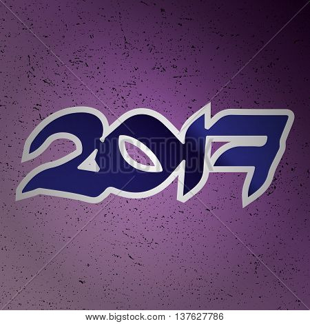 2017 new year creative design for your greetings card flyers invitation posters brochure banners calendar. Lilac gradient background.