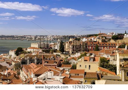 cityscape of the lisbon down town from roof of sao vincente de fora church