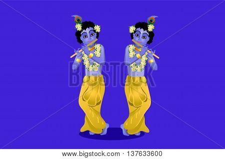 The birthday of Krishna vector illustration of Krishna on a blue background